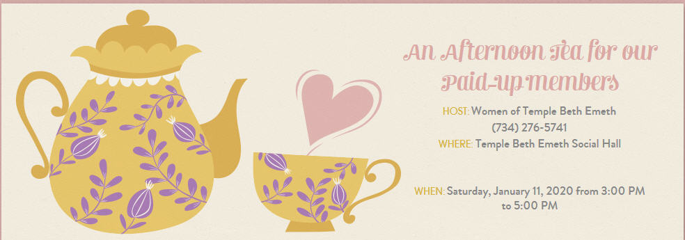 Come to our Membership Appreciation Event- An Afternoon Tea on Jan 11